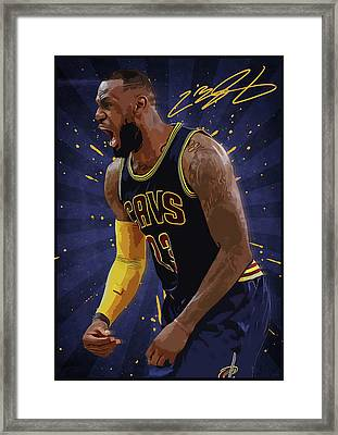 Lebron James Nba Framed Print by Semih Yurdabak