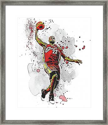 Lebron James Slam Dunk Framed Print