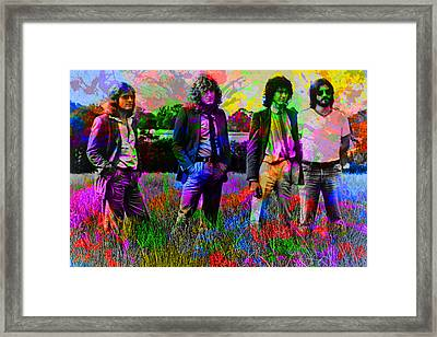 Led Zeppelin Band Portrait Paint Splatters Pop Art Framed Print by Design Turnpike