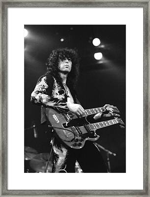 Led Zeppelin Jimmy Page 1975 Framed Print by Chris Walter
