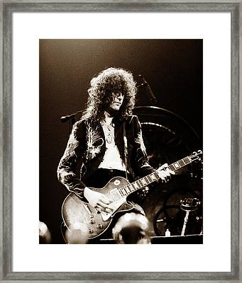 Led Zeppelin - Jimmy Page 1975 Framed Print by Chris Walter