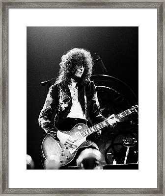 Led Zeppelin - Jimmy Page 1975 Bw Framed Print by Chris Walter
