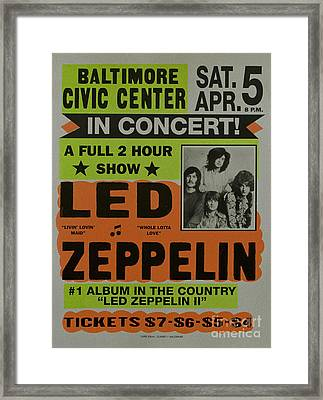 Led Zeppelin Live In Concert At The Baltimore Civic Center Poster Framed Print