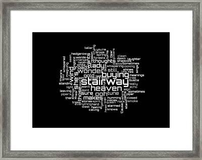 Led Zeppelin - Stairway To Heaven Lyrical Cloud Framed Print by Susan Maxwell Schmidt