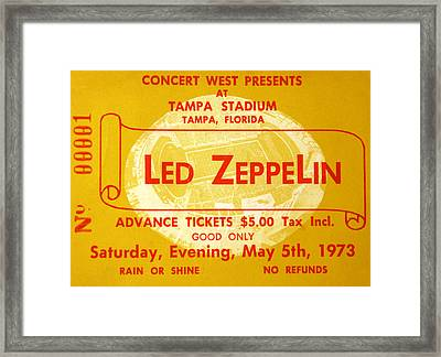 Led Zeppelin Ticket Framed Print by David Lee Thompson