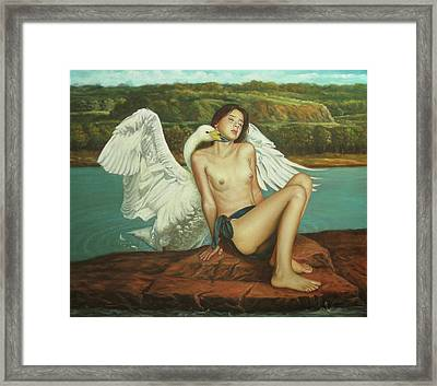 Leda And The Swan - Passionate Framed Print by Giovanni Rapiti