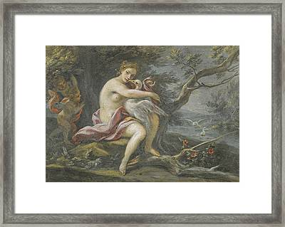 Leda And The Swan Framed Print by Filippo Falciatore