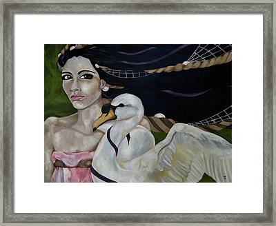 Leda And The Swan Framed Print by Victoria Dietz