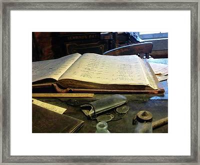 Ledger And Eyeglasses Framed Print by Susan Savad