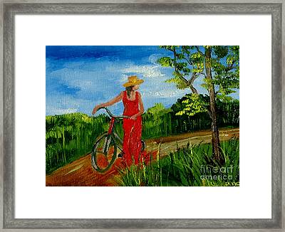 Ledy With The Bike Framed Print by Inna Montano