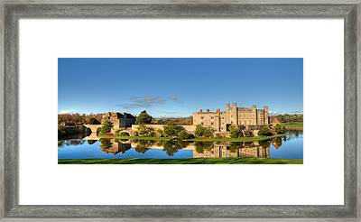 Leeds Castle And Moat Reflections Framed Print