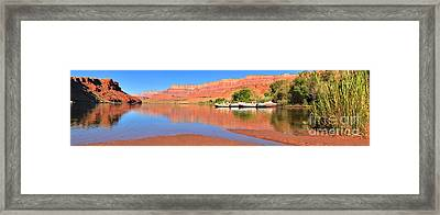 Lees Ferry River Raft Panorama Framed Print by Adam Jewell
