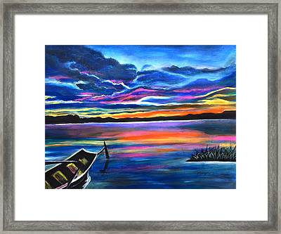 Left Alone A Seascape Boat Painting At Sunset  Framed Print