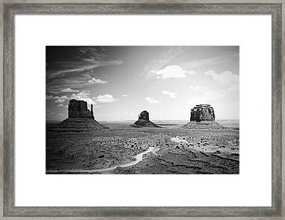 Left And Right Mittens And Merrick Butte Black And White Framed Print by Ryan Kelly