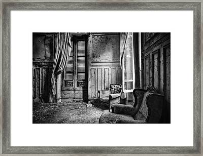 Left Behind Sofa - Abandoned Bilding Framed Print
