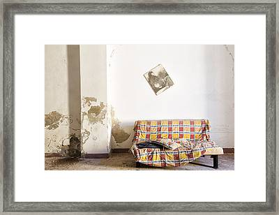 Left Behind Sofa  - Abandoned Building Framed Print by Dirk Ercken