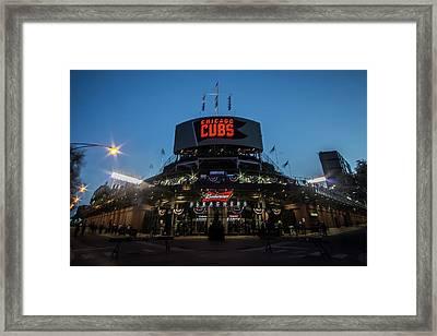 Left, Bleachers Entrance And Right Of Wrigley Field At Dusk Framed Print by Sven Brogren