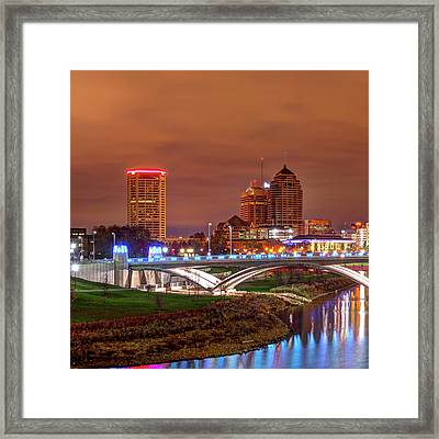 Left Panel 1 Of 3 - Columbus Ohio Skyline At Night Framed Print