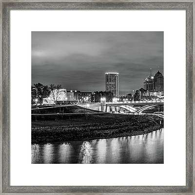 Left Panel 1 Of 3 - Columbus Ohio Skyline At Night In Black And White Framed Print by Gregory Ballos