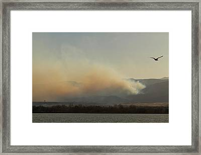 Lefthand Canyon Wildfire Across The Lake View Framed Print
