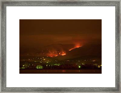 Lefthand Canyon Wildfire Night Time View Framed Print