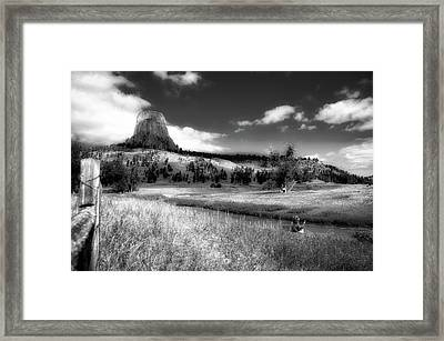 Legend Of The Bear Wyoming Devils Tower Bw Framed Print by Thomas Woolworth