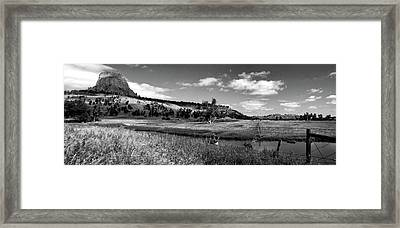 Legend Of The Bear Wyoming Devils Tower Panorama Bw Framed Print by Thomas Woolworth