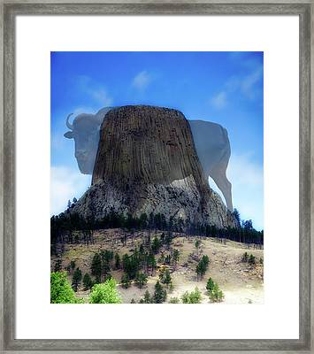 Legend Of The Buffalo Devils Tower National Monument Wyoming Vertical Framed Print by Thomas Woolworth