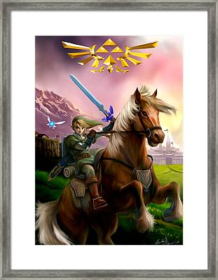 Legend Of Zelda- Link And Epona Framed Print by Becky Herrera