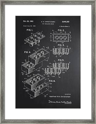 Lego Block Patent Chalkboard Framed Print by Brooke Roby
