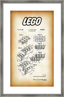 Lego Building Brick Patent 1961 Framed Print by Daniel Hagerman