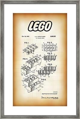 Lego Building Brick Patent 1961 Framed Print