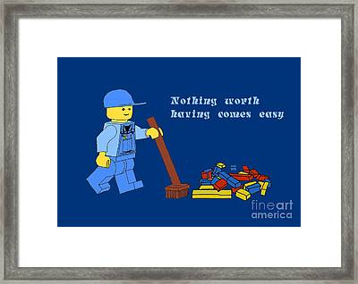 Lego Clean Up Framed Print by Priscilla Wolfe