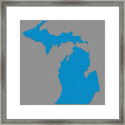 Lego Map Of Michigan Framed Print by Design Turnpike