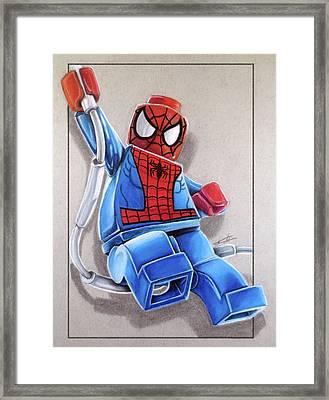 Lego Spiderman Framed Print by Thomas Volpe