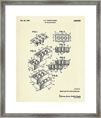 Lego Toy Building Brick-1961 Framed Print by Pablo Romero