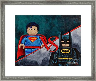 Lego Vs Lego Framed Print by Herschel Fall
