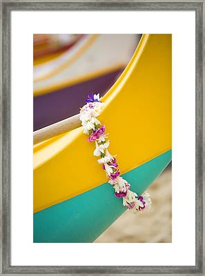 Lei Draped Over Outrigger Framed Print by Dana Edmunds - Printscapes