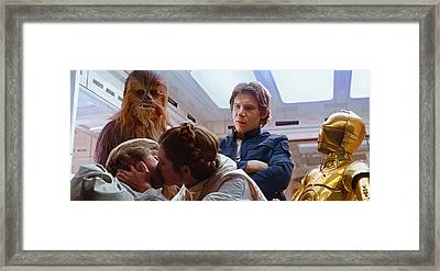 Leia Kisses Luke Framed Print by Mitch Boyce