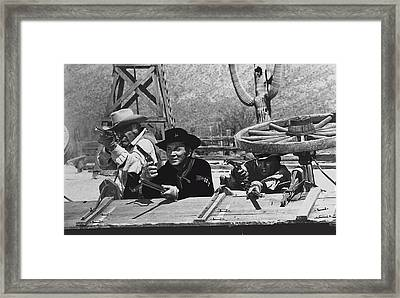 Leif Erickson Cameron Mitchell Mark  Slade Fighting Attacking Apaches 1 Old Tucson Arizona 1969 Framed Print by David Lee Guss