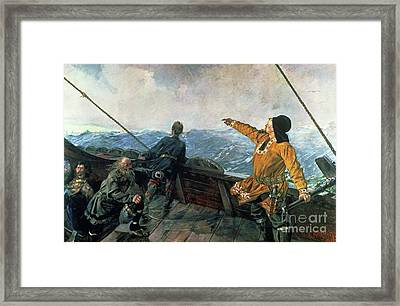 Leif Eriksson Sights Land In America Framed Print by Christian Krohg