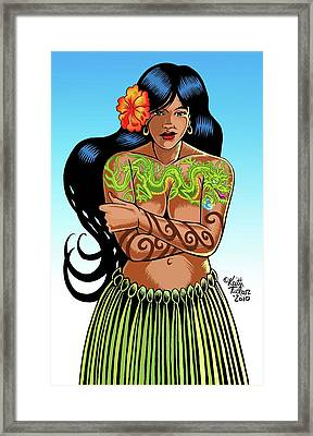 Leilani The Dragon Tattooed Wahine Framed Print by Keith Tucker