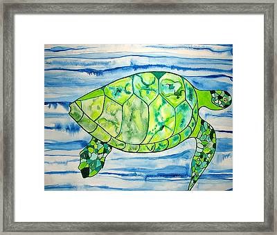 Framed Print featuring the painting Leilani The Hawaiian Sea Turtle by Erika Swartzkopf