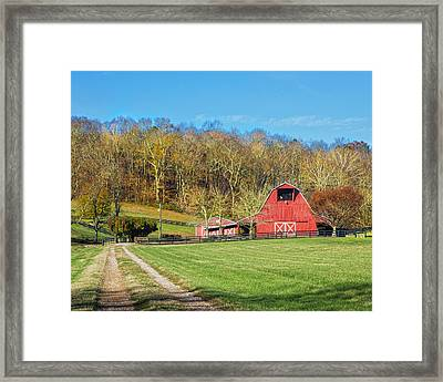 Leipers Creek Road Barn Framed Print
