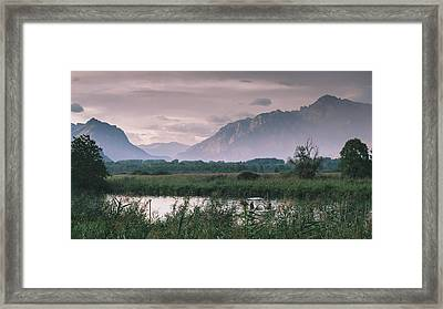 Leisure Boat On River Adda In Northern Italy, Close To Lake Como - Reflection Of Italian Alps Framed Print