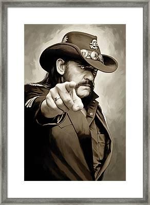 Framed Print featuring the painting Lemmy Kilmister Motorhead Artwork 1 by Sheraz A
