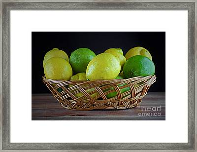 Lemon And Lime Basket Framed Print by Ray Shrewsberry
