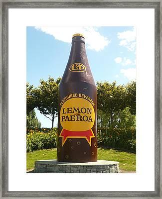 Lemon And Paeroa Framed Print by Amy Jayne Roper