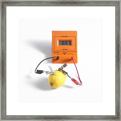Lemon Battery Framed Print by Spl