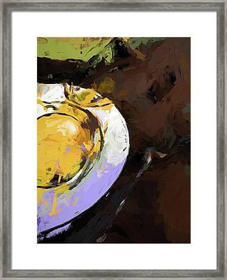 Lemon Bowl Fork Green Framed Print